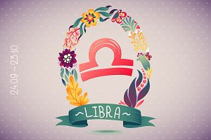 Zodiac sign LIBRA in floral wreath