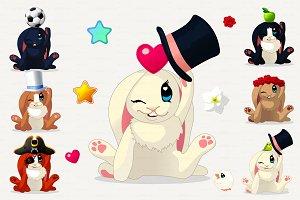 ♥ vector Funny bunnys SET
