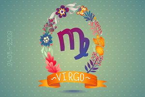 Zodiac sign VIRGO in floral wreath