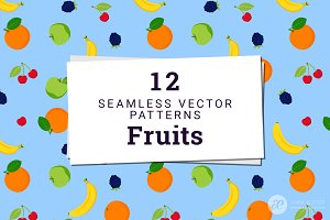12 Fruit Vector Patterns