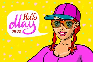 Hello May. Red head girl placard