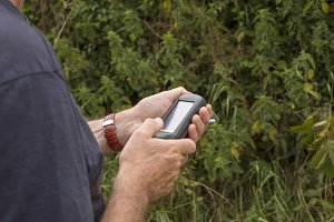 Man with gps receiver