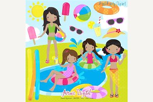 Girls Pool Party Clipart