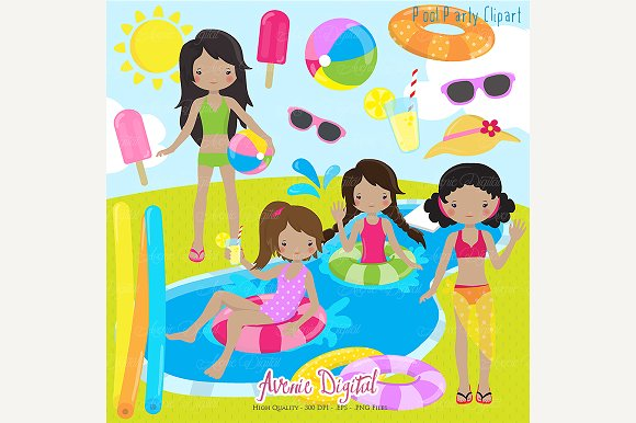 Girls pool party clipart illustrations on creative market for Free clipart swimming pool party
