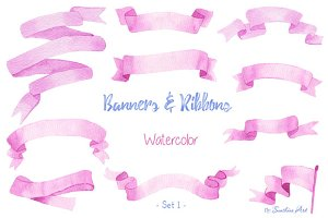 Watercolor Ribbons & Banners (Set 1)