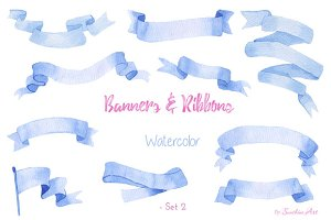 Watercolor Ribbons & Banners (Set 2)