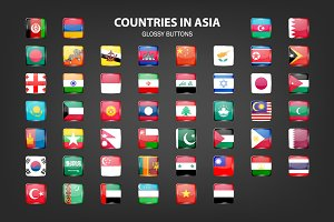 Asia - glossy buttons with flags