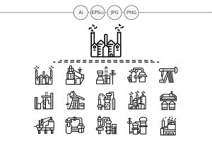 Industrial building line icon. Set 4