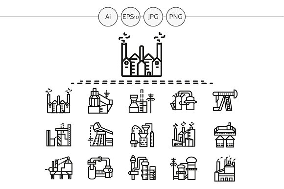 Industrial building line icon. Set 4 ~ Icons on Creative