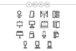 Outdoors advertising icons. Set 4