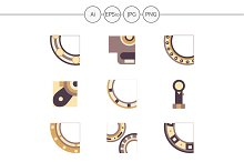 Mechanical bearing flat icons. Set 2