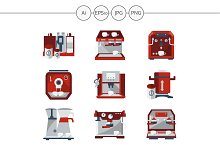 Red coffee machines vector icons set