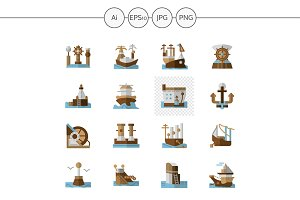 Seaports and ships flat color icons