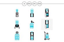 Water cooler service vector icons