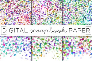 Rainbow Confetti Digital Paper