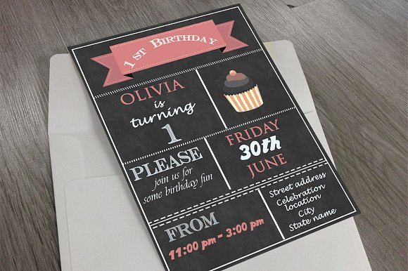 1st birthday invitation invitation templates creative market filmwisefo Choice Image