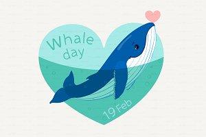 ♥ vector Cartoon humpback whale