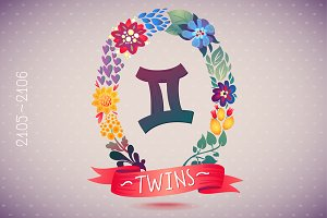Zodiac sign TWINS in floral wreath