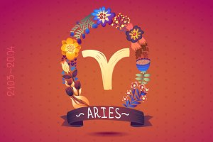 Zodiac sign ARIES in floral wreath