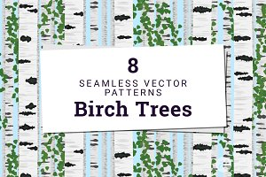 8 Birch Trees Vector Patterns