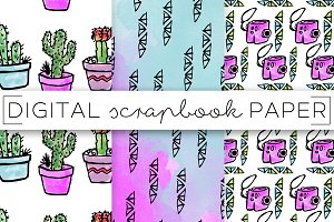 Watercolor Succulents Digital Paper