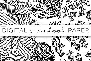 Black & White Doodle Digital Paper