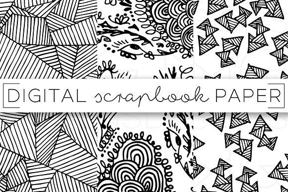 Black & White Doodle Digital Paper