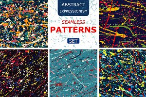 splatter seamless pattern set.Vector