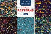 splatter seamless pattern set.Vector