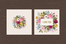 Set. Vintage floral card. Love.