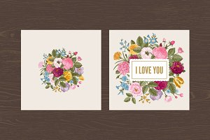 Set. Vintage floral card. Love.