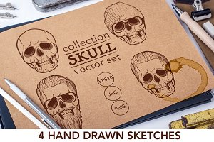 Set of 4 Hipster style skulls