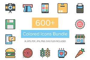 600+ Colored Icons Bundle