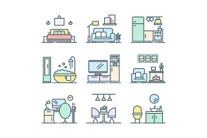 Set of line interior design icons