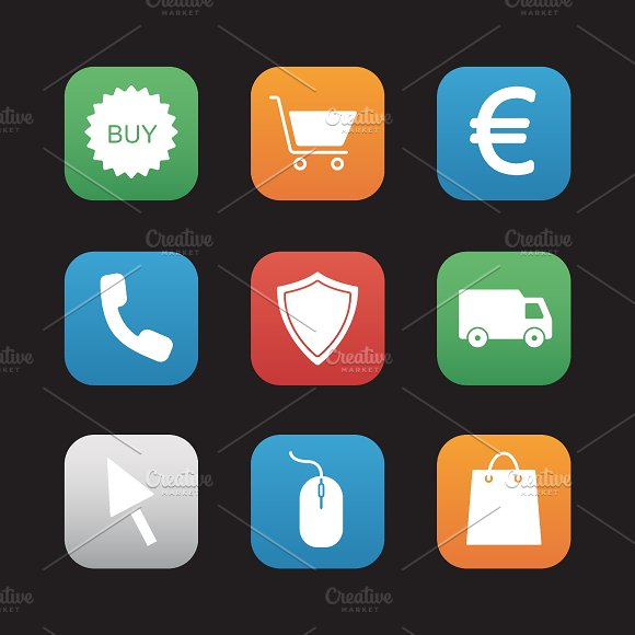 Online store icons. Vector