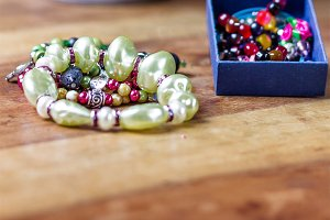 Colorful bracelets made of beads
