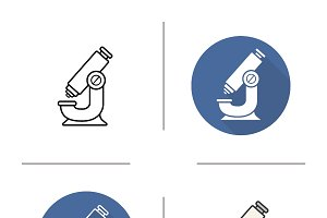 Microscope icons. Vector