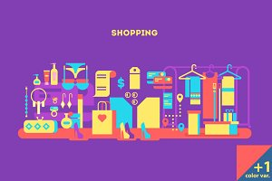 Shopping design flat concept