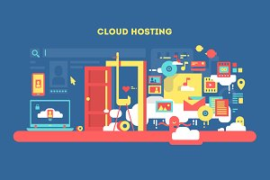 Cloud hosting flat concept