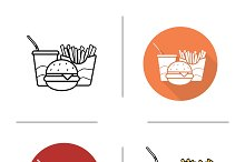 Fastfood icons. Vector