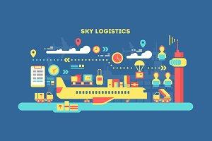 Sky logistics flat concept