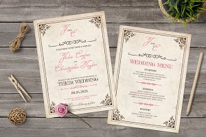 Old Style Wedding Invitation Set