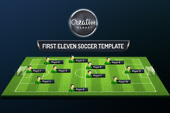First Eleven Soccer Psd Template Product Mockups Creative Market