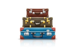 Old retro vintage suitcases bags pile for travel. Eps10 vector illustration. Isolated on white background