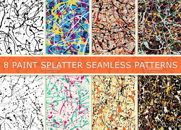 8 Paint splatter patterns vector