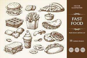 Hand drawn sketch fast food set