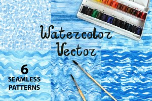 Vector Blue.Watercolor patterns