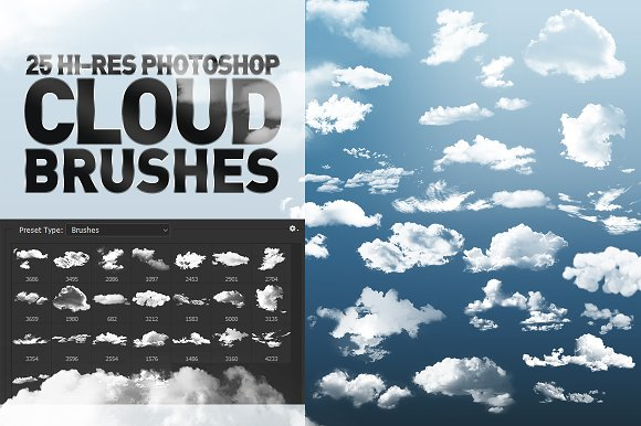 25 Hi-Res Cloud Brushes