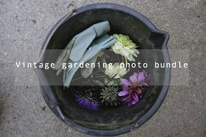 Vintage gardening photo bundle