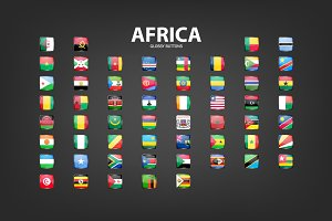 Africa - glossy buttons with flags